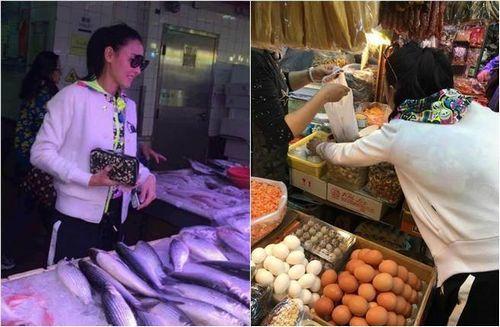 张柏芝素颜逛菜市场称要煮饭给儿子吃(图)