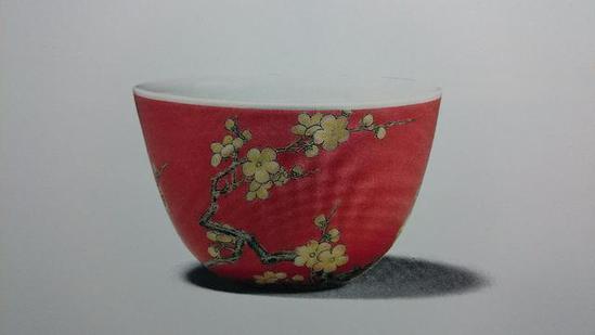 清雍正 珐琅彩梅竹小杯 高4.4厘米收藏景德镇清珐琅彩瓷的仿制秘史