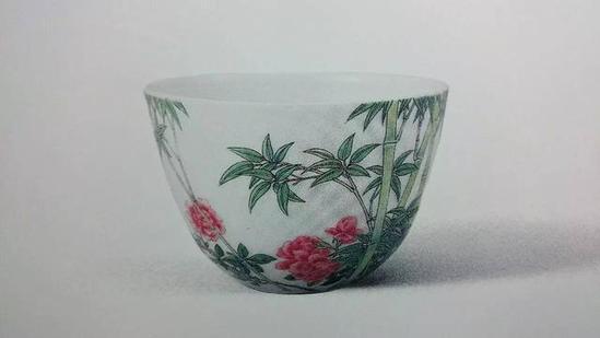 清雍正 珐琅彩丛竹月季图杯 直径6.4厘米