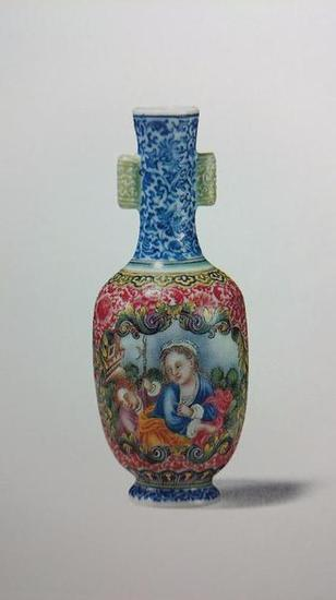 清乾隆 珐琅彩婴戏图小瓶 高9厘米