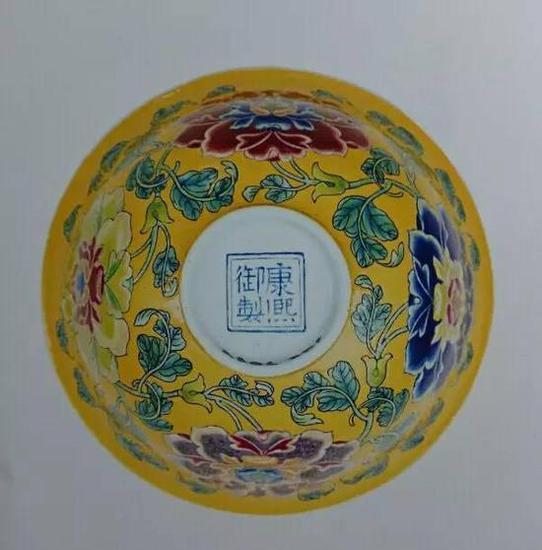 清康熙 珐琅彩牡丹纹碗 (碗底图)