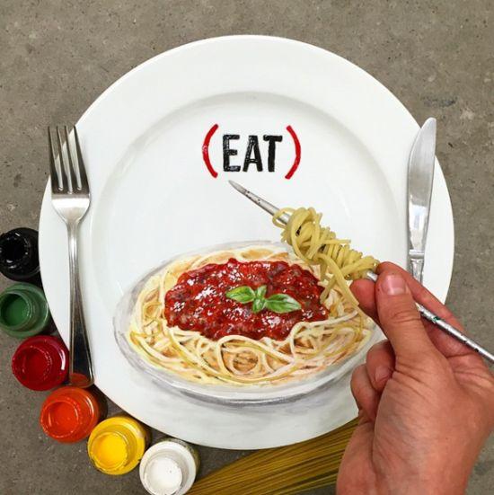 餐盘上的画 竟然达到了以假乱真的地步