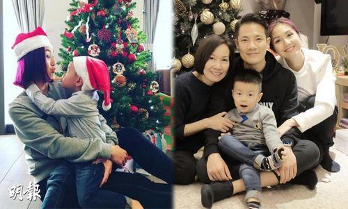 杨千�每�心过圣诞与爱子同戴圣诞帽嘟嘴对望(图)