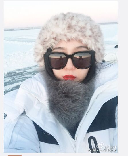 雪地熊出没 范冰冰雪地自拍 红唇肤白美艳