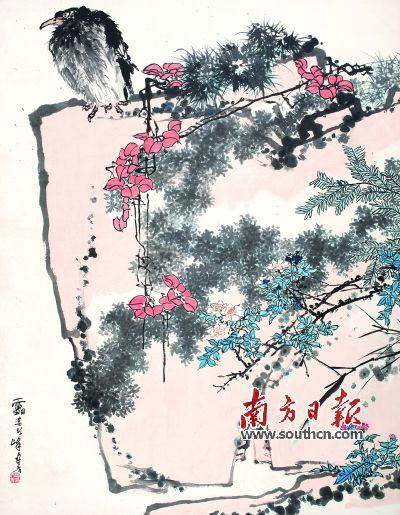 潘天壽作品《鷹石山花圖》。