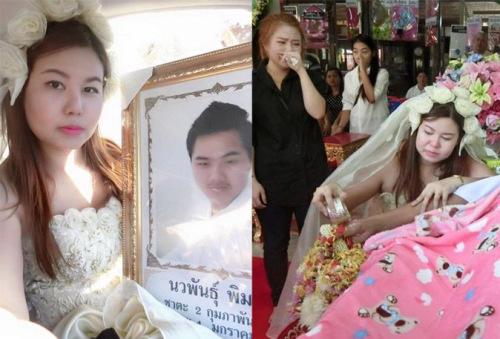 永远的爱:男友突然去世女子穿婚纱出席葬礼(图)