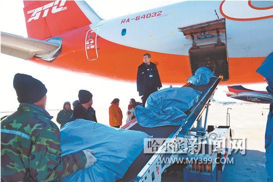 工作人员往对俄货运飞机上装载货物。 本报资料片