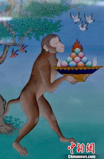 1月10日,展览中的唐卡作品《灵猴献宝》。 李林 摄