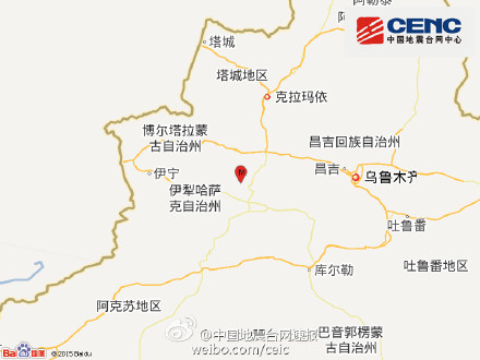 新疆伊犁州尼勒克县发生3.4级地震震源深度8千米