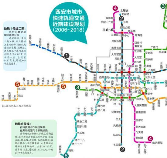 西安地铁规划线路图-西安地铁五号线建设全面启动 5座车站进入围挡施