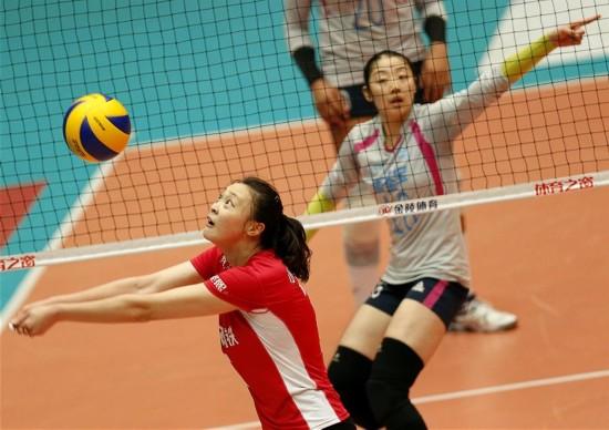 女排联赛总决赛第二回合:天津胜江苏