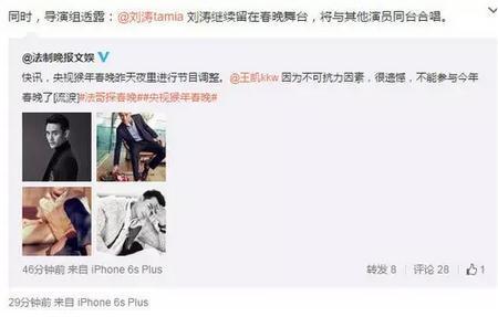 王凯无缘春晚 刘涛将另觅搭档TFboys或表演儿童节目
