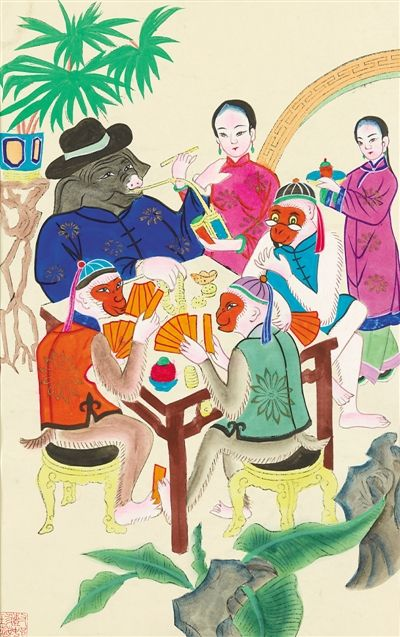 中国美术馆藏年画《三猴烫猪》.图片