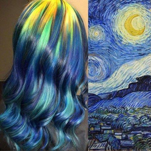 发型师向著名画作致敬:染发创作与油画异曲同工
