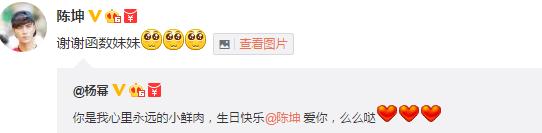 陈坤40岁生日杨幂送祝福回应:谢谢函数妹妹(图)