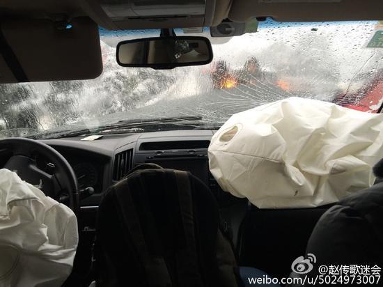 赵传参赛途中遭遇大车祸 现场惨重