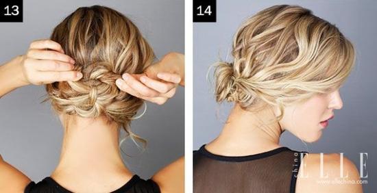 12,先预留出一长段头发,用发夹将打好结的低位盘发与上一个成形的