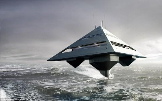四面体豪华游艇似外星飞船 可在海上平稳行进