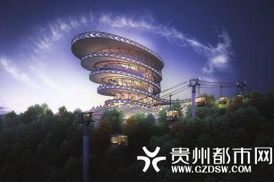初步拟定夜景观光主体建筑设计为现代型的螺旋状观景塔.