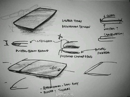 从手绘草图上的标注可以看出,乐视超级手机2代将采用一体式设计