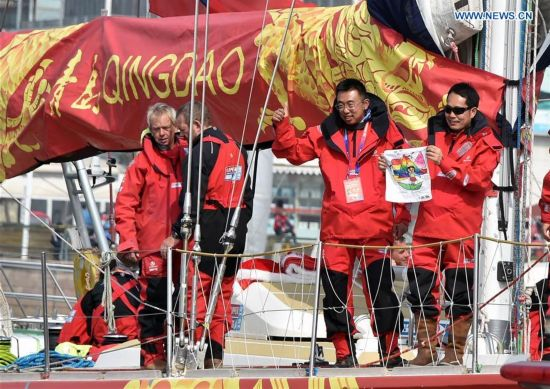 Crew members of Qingdao set off for Race 9 at the Clipper 2015-16 Round the World Yacht Race in Qingdao, east China's Shandong Province, March 20, 2016.