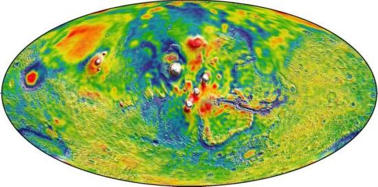 NASA发布迄今最详细火星重力图 似彩色油画