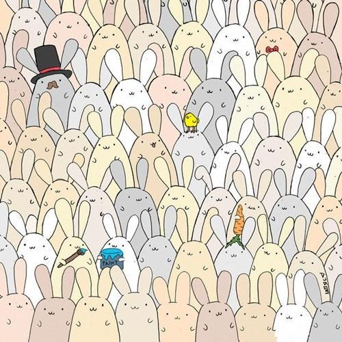 外國人考眼力玩瘋了:復活節兔群藏了一隻蛋(圖)