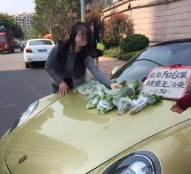 """开保时捷卖菜走红 网友:炒作无底线 自称阳台菜健康无污染,只卖""""懂货""""的人"""