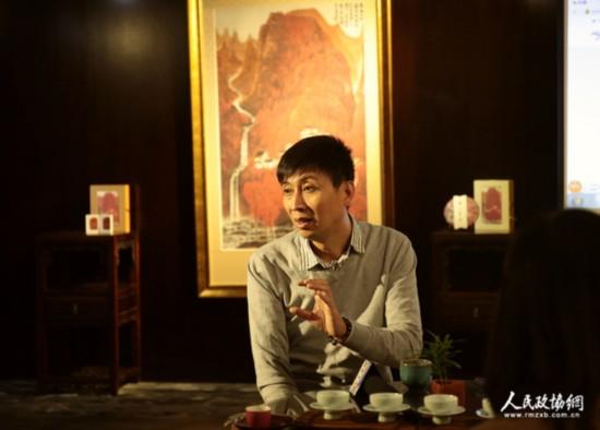 荣宝斋茶文化(北京)有限责任公司总经理孙刚介绍众筹