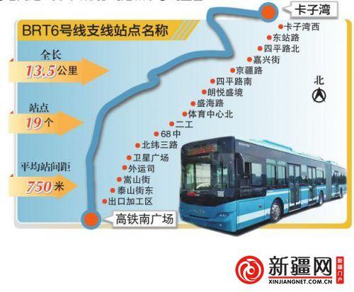 乌鲁木齐 BRT6号线支线19处站名确定 部分线路和6号线重合图片