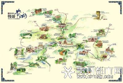 微博晒出贵州十条线路的手绘旅游地图,分别以全景贵州,贵阳,遵义,毕节