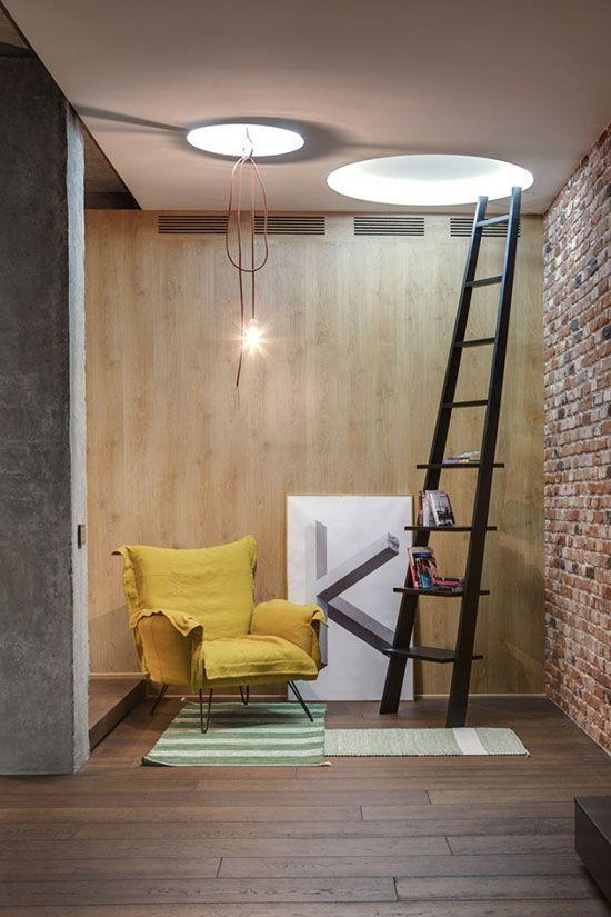 家居  原標題:磚墻水泥工業風 18圖開放式公寓設計     裸磚墻是空間
