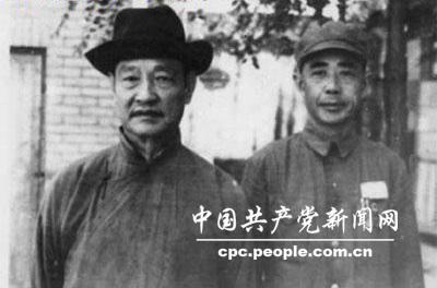 1949年8月,程潜、陈明仁(右)在长沙举行起义