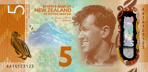 新西兰新版5元纸币正面。