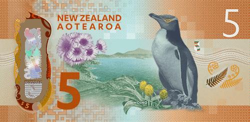 新西兰新版5元纸币反面。