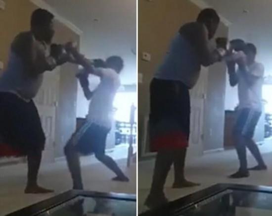 震惊 美男子为惩罚儿子竟与其拳击格斗