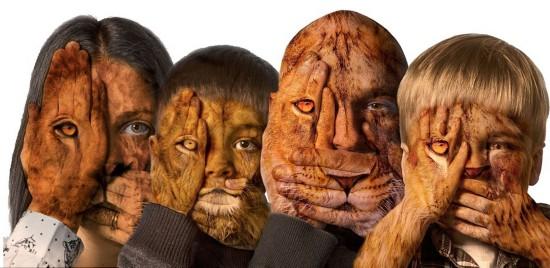 美國藝術家奇思妙想讓一家四口變獅子