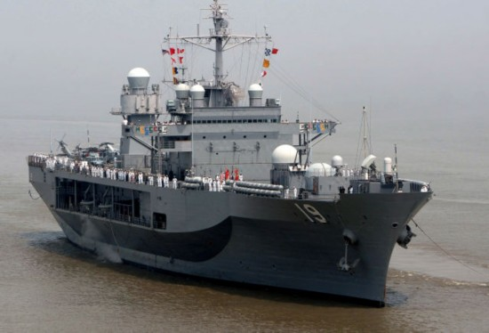 美国海军第七舰队旗舰访问上海
