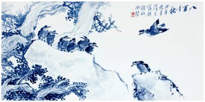 青花瓷板画