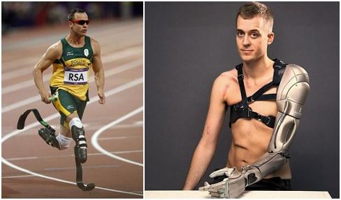 """图五 左图为前奥运选手、""""刀锋战士""""皮斯托瑞斯,右图为一名安装了机械手臂的英国小伙。"""