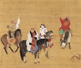元代刘贯道《元世祖出猎图》(局部),台北故宫博物院藏