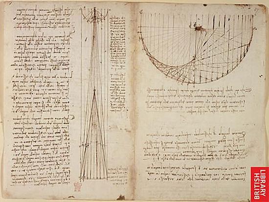 达·芬奇的手稿中充满了各种数学公式和几何图形.图片
