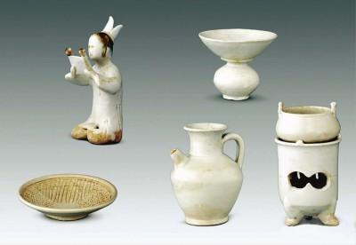 国家博物馆内收藏的五代白瓷茶具文物