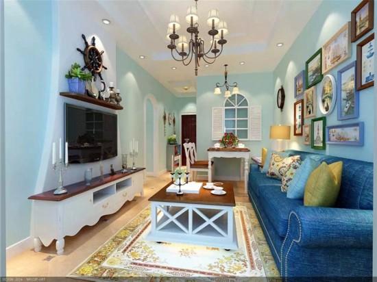 3套90平米小户型装修效果图 地中海二居室清凉美家