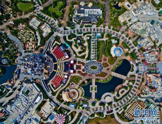 航拍上海迪士尼开幕庆典主会场