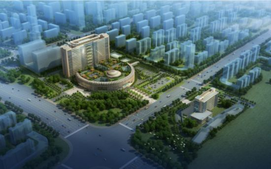 广西国际壮医医院设计效果图(整体鸟瞰图)