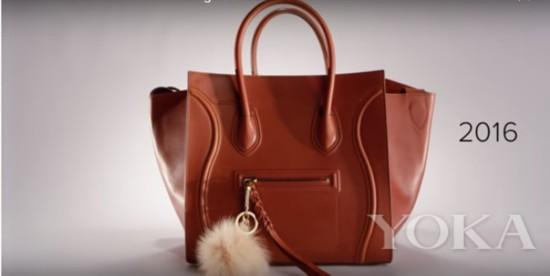 嗯,棕色的中號CELINE上面綴有毛球裝飾,確實算是這兩年比較火爆的款式,而且不容易過時的CELINE笑臉包也是在白領女性中出鏡率最高的包袋。