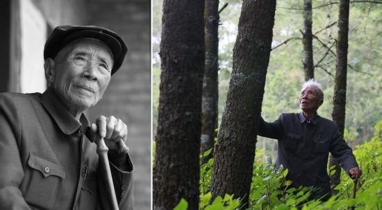 拼版照片:左图为杨善洲(2009年10月摄);右图为杨善洲在大亮山林场(2009年摄)。