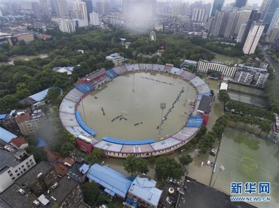 航拍:武汉市新华路体育场积水严重