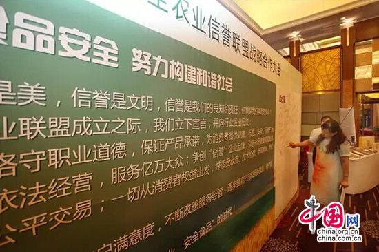 与会代表在构建食品安全宣言墙上签字-百城政企共建信誉农业联盟 卓图片